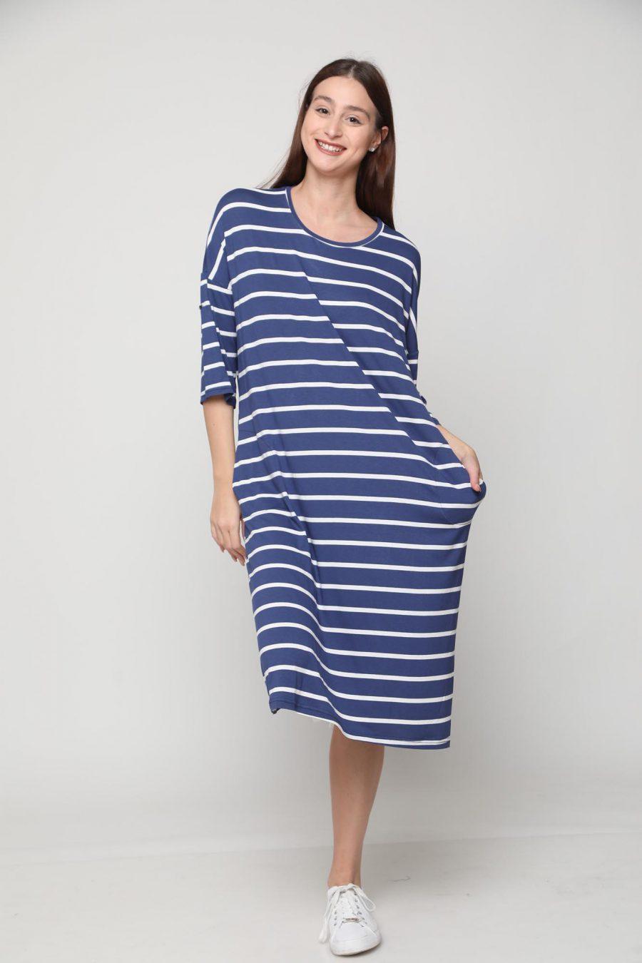 שמלה שירה פסים כחול