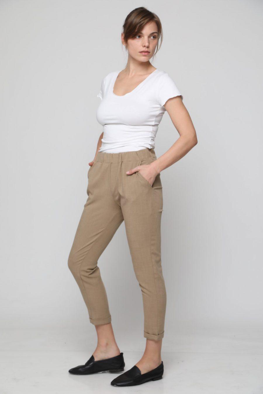 מכנס שאנל גומי קאמל