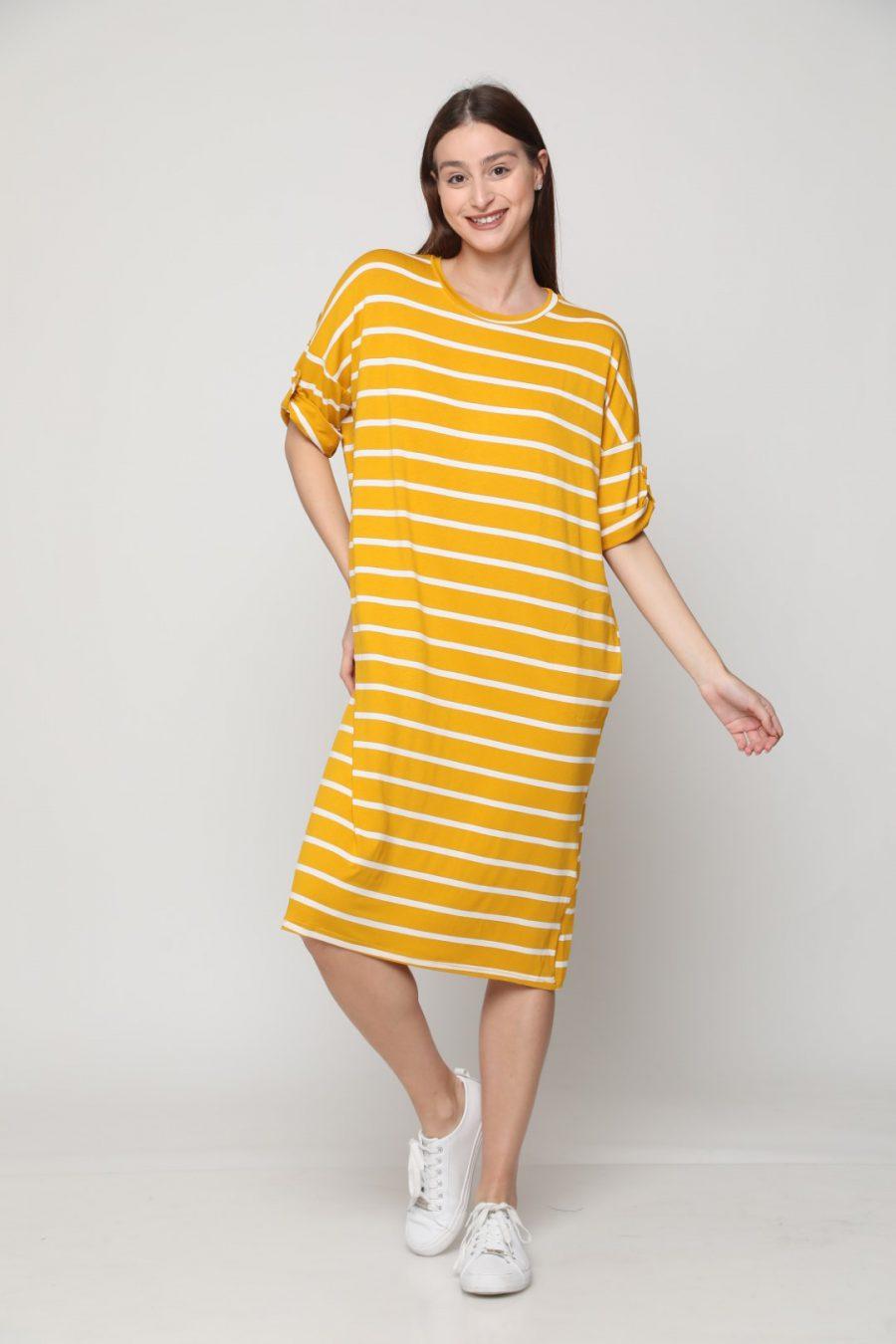 שמלה שירה פסים צהוב