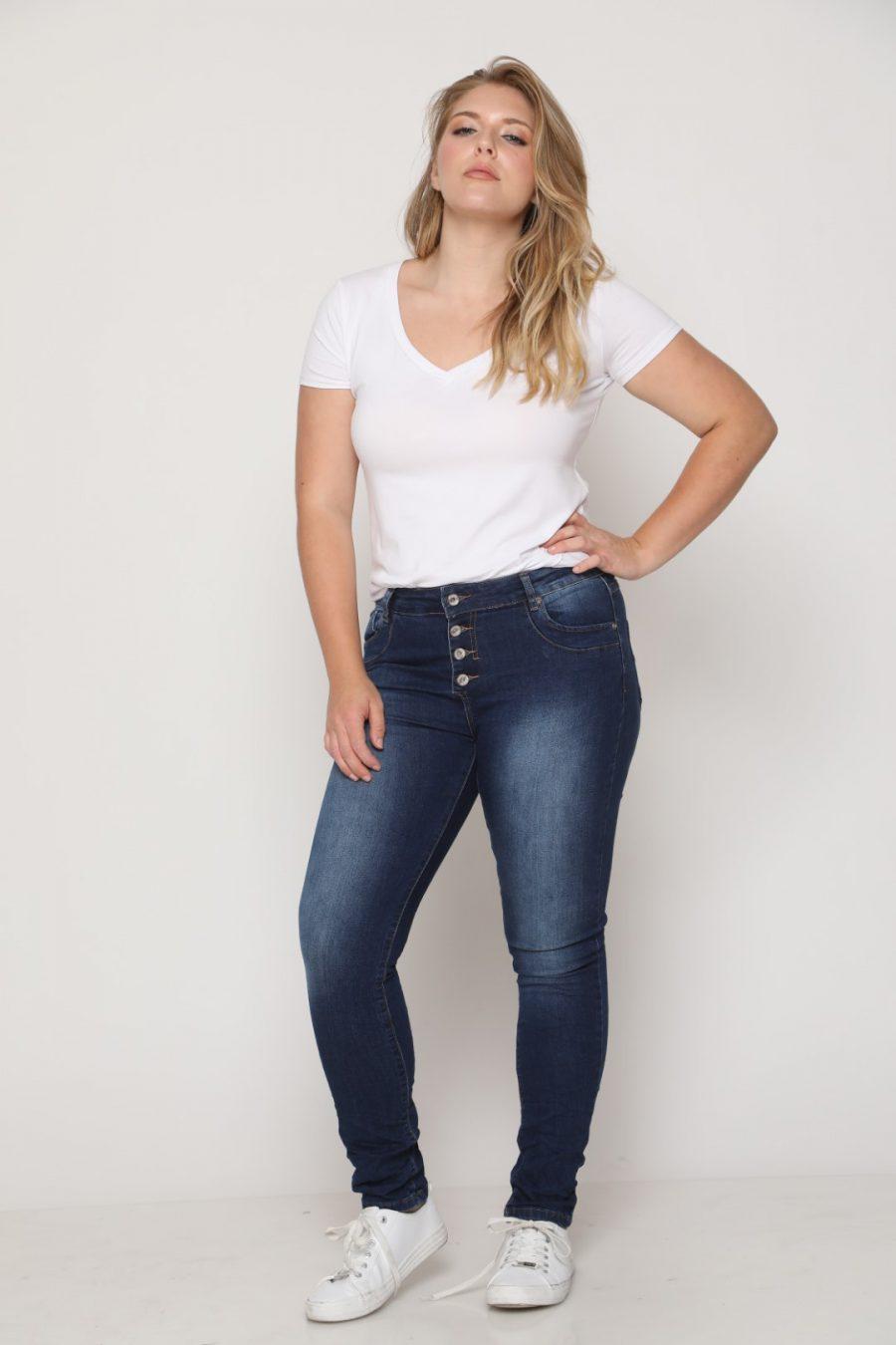 ג'ינס ווש כפתורים כהה