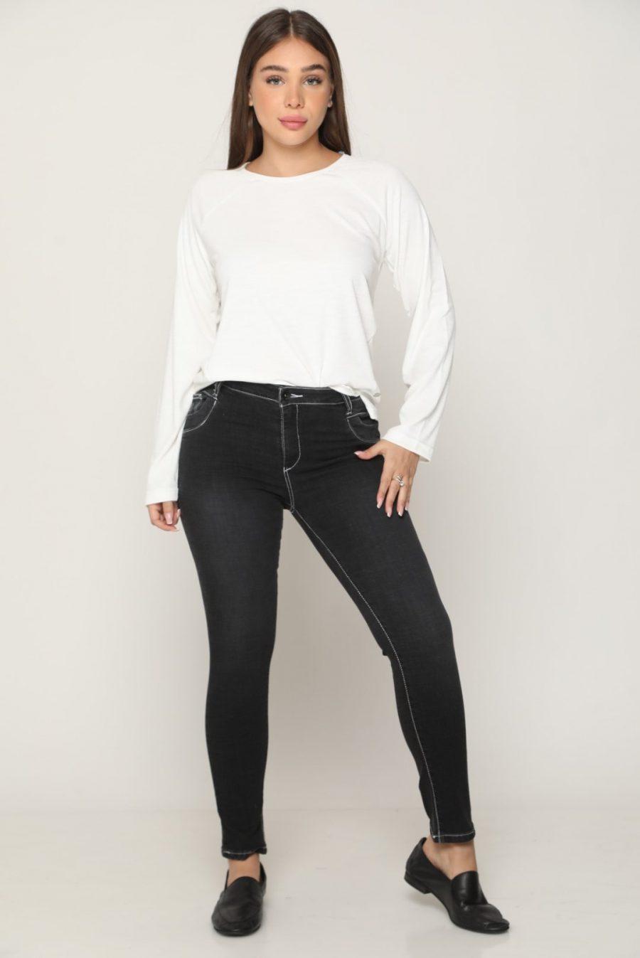 מכנס ג'ינס מחטב תיפורים שחור