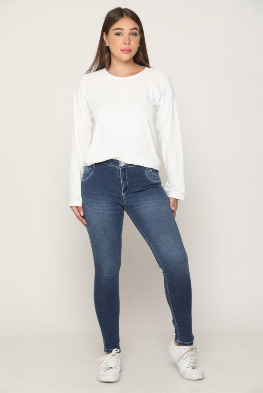 מכנס ג'ינס מחטב תיפורים כחול